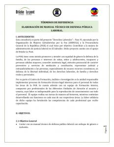 Términos de referencia –  elaboración de manual técnico de defensa pública laboral