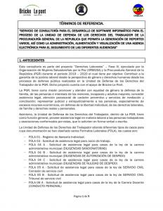 Servicio de consultoría para el desarrollo de software informático para el proceso de la unidad de defensa de los derechos del trabajador de la PGR