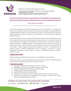 Términos de referencia para contratación de Coordinadora de programa de Derechos Sexuales y Derechos Reproductivos para una ciudadanía inclusiva.