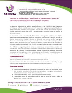 Términos de referencia para contratación de Periodista para el Área de Observatorios e investigación
