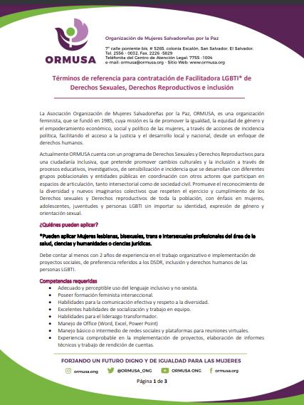 TDR – Términos de referencia para contratación de Facilitadora LGBTI de Derechos Sexuales, Derechos Reproductivos e inclusión