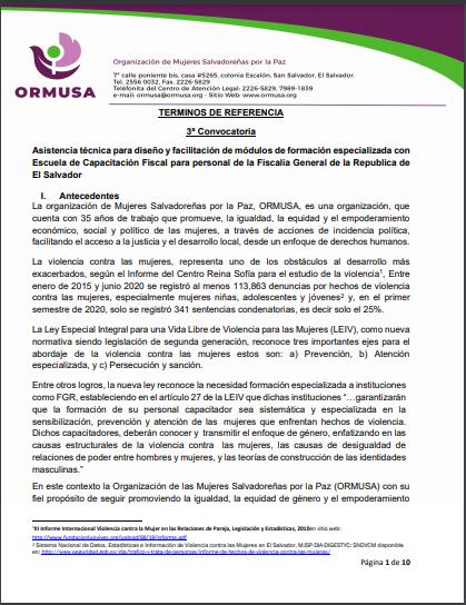 TdR Asistencia Técnica Diseño y facilitación módulos VIII IX y XI formación 3a convocatoria